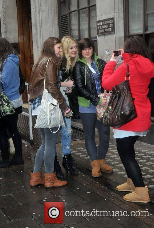 Fearne Cotton posing with fans after leaving the...