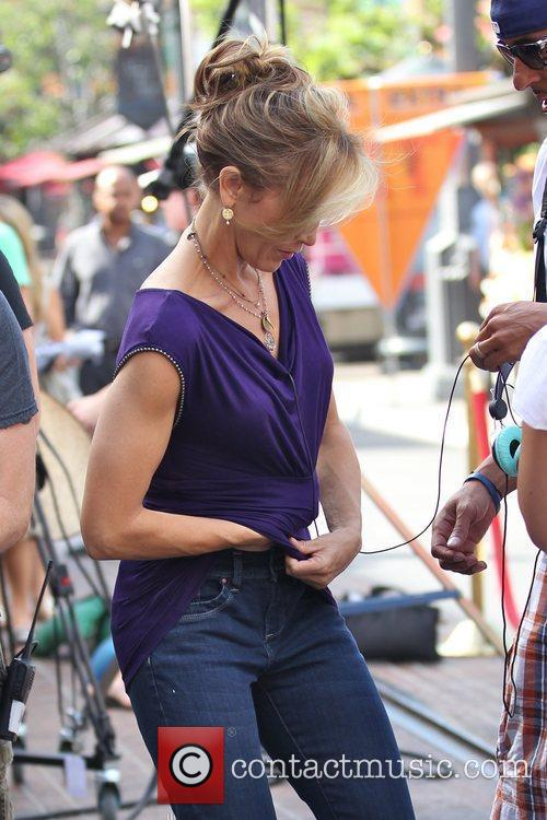 Felicity Huffman filming an interview for the entertainment...