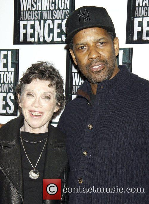 Carol Shorenstein Hayes and Denzel Washington  pose...