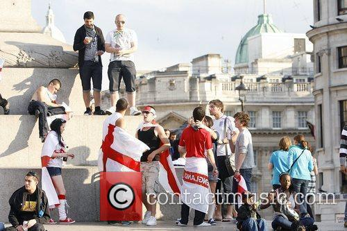 England fans in Trafalgar Square during the second...