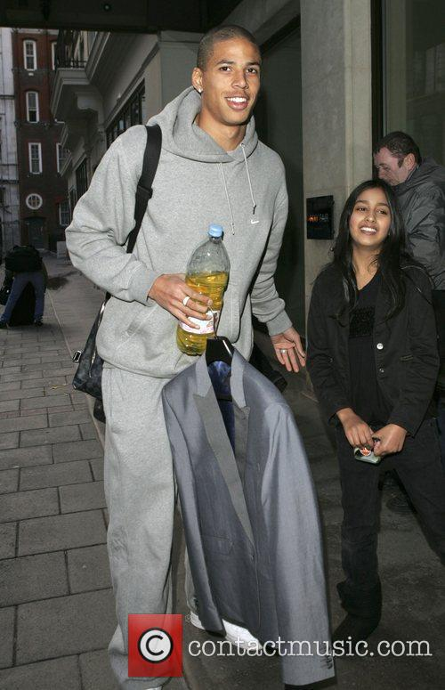 Curtis Davies arriving at a hotel
