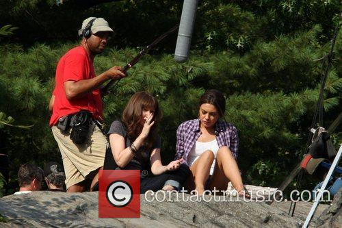 Mila Kunis on the set of 'Friends with...