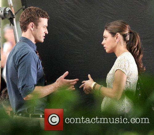 Justin Timberlake and Mila Kunis filming on the...