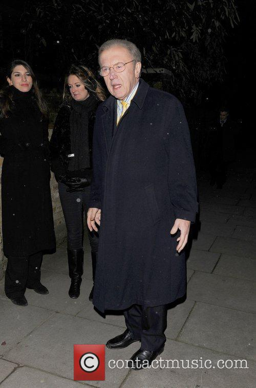 David Frost attending the Freud Annual Christmas Party...