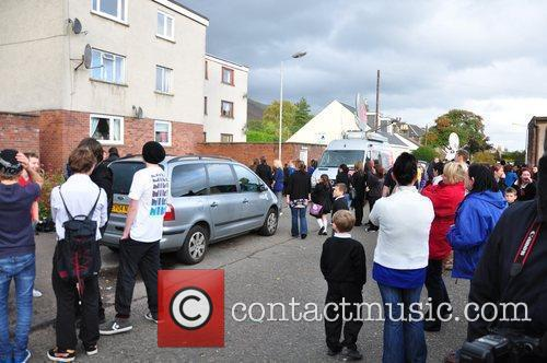 People gathered at the estate in Tillicoultry, Clackmannanshire...