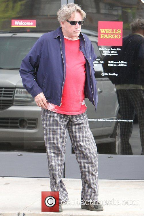 Gary Busey leaving Wells Fargo bank in Malibu