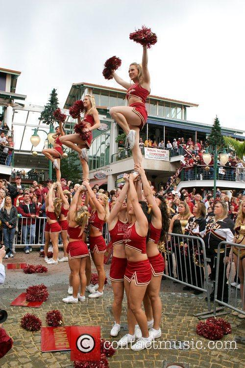 FSU fans, cheerleaders, and band members during the...