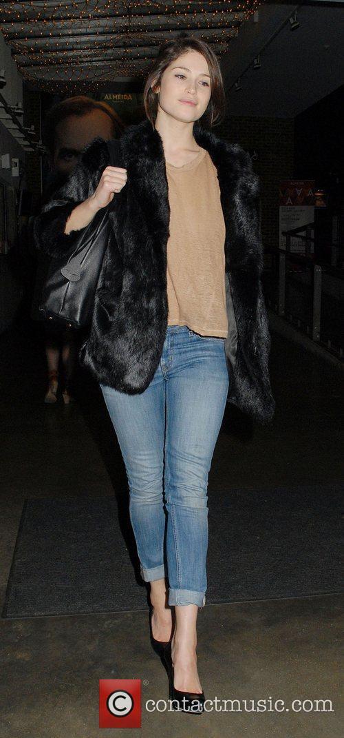 Gemma Arterton leaving the Almeida Theatre where she...