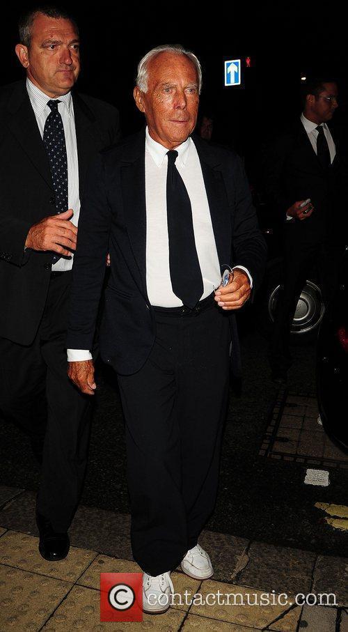Giorgio Armani leaving The George Club London, England