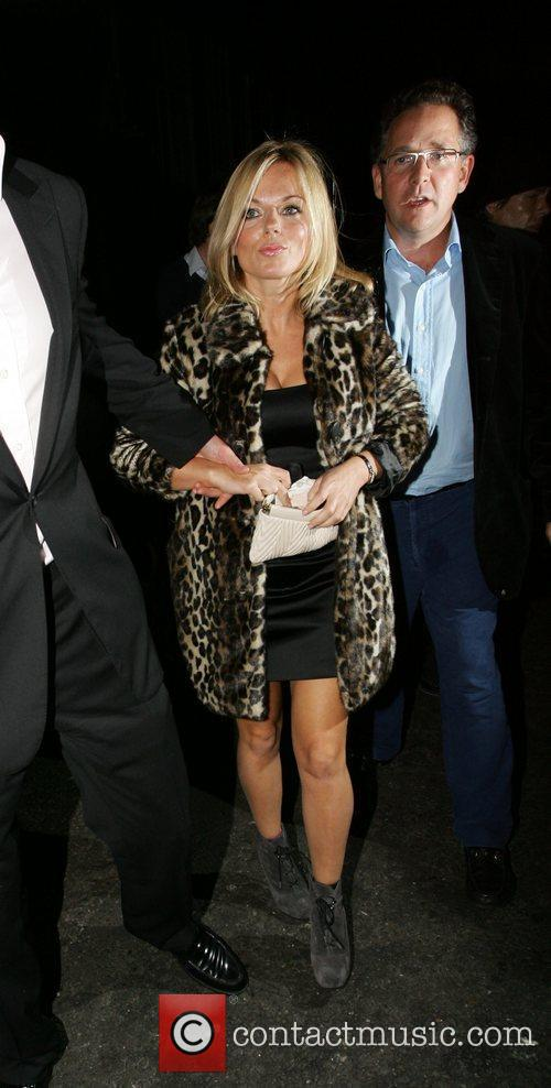 Geri Halliwell in a leopard patterned coat leaves...