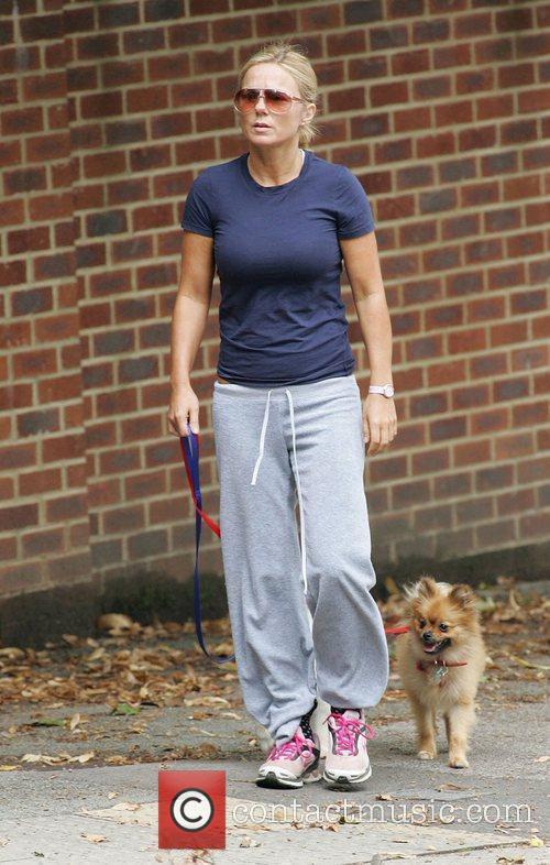 Geri Halliwell walking her dogs in Hampstead London,...
