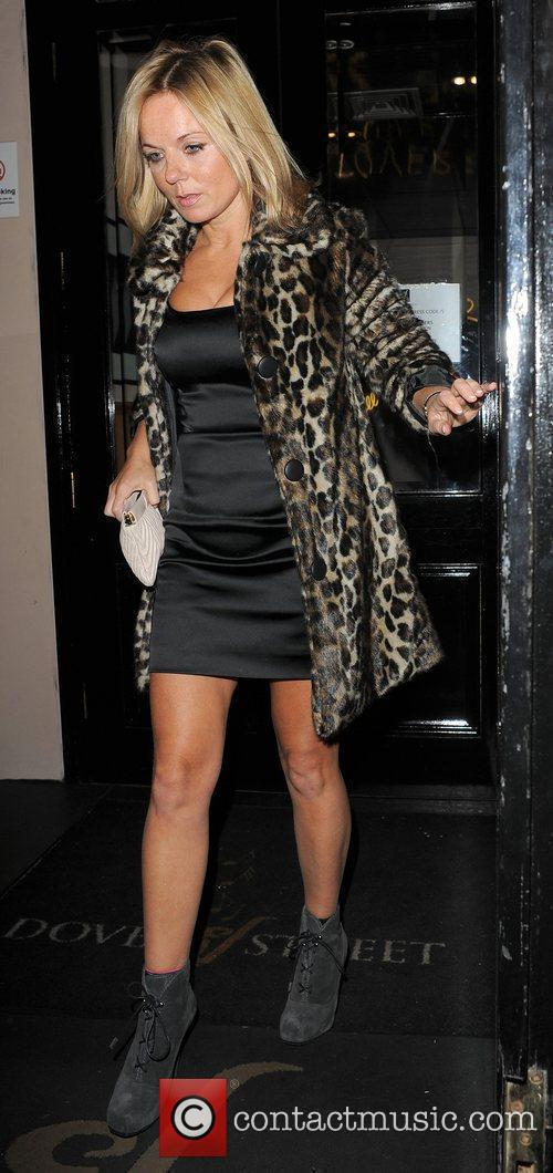 Geri Halliwell leaving Dover Street Wine Bar, appearing...