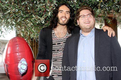 Russell Brand and Jonah Hill attend a photocall...