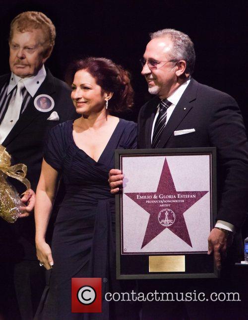 Gloria Estefan and Emilio Estefan receive a star...