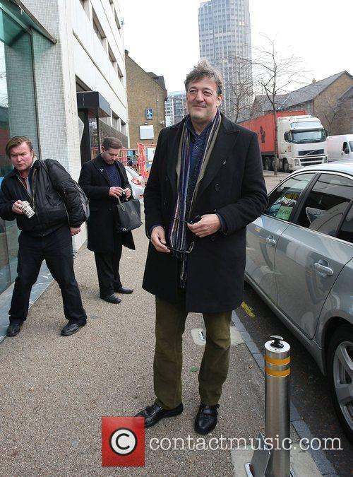 Stephen Fry outside the GMTV studios London, England