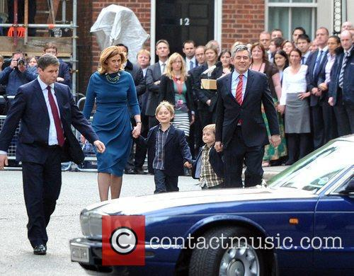 Gordon Brown, Sarah Brown With Children John and James Leaving 10 Downing Street After Making A Speech Announcing His Resignation From His Post As A Prime Minister. 3