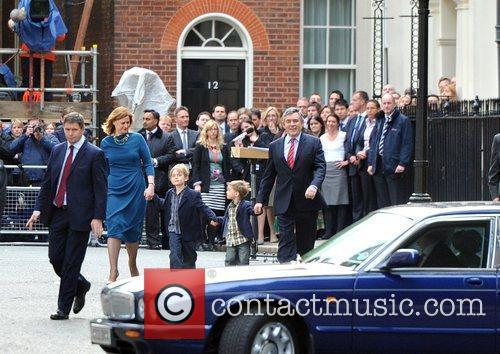 Gordon Brown, Sarah Brown With Children John and James Leaving 10 Downing Street After Making A Speech Announcing His Resignation From His Post As A Prime Minister. 8