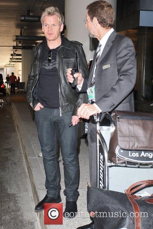 Celebrity chef Gordon Ramsay arriving at LAX airport...