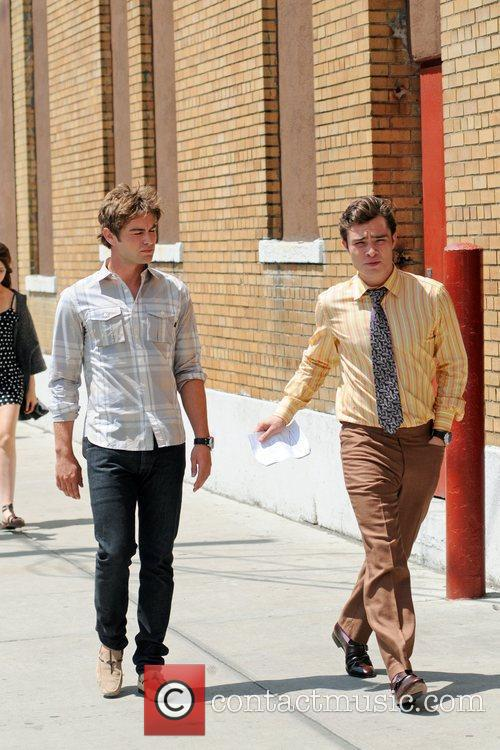 Chace Crawford and Ed Westwick on the set...