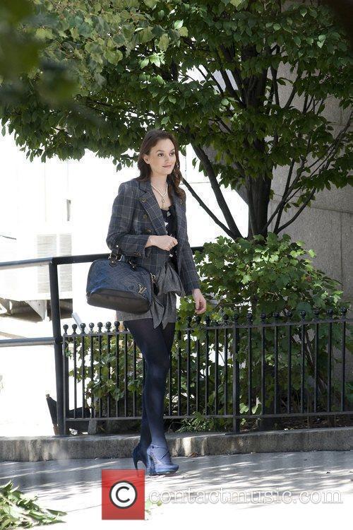 Leighton Meester on location filming Gossip Girl in...