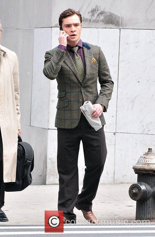 Ed Westwick is seen on the set of...