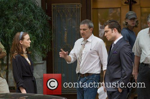 Leighton Meester and Ed Westwick on the set...