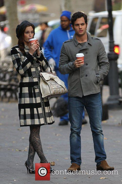 Leighton Meester and Penn Badgley filming on location...