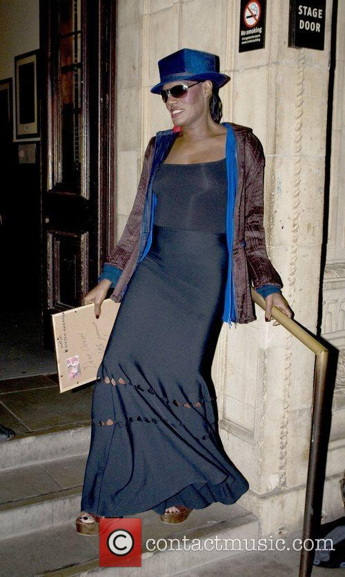Grace Jones leaving from the stage door at...