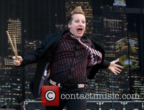 Tre Cool Green Day perform live in concert...