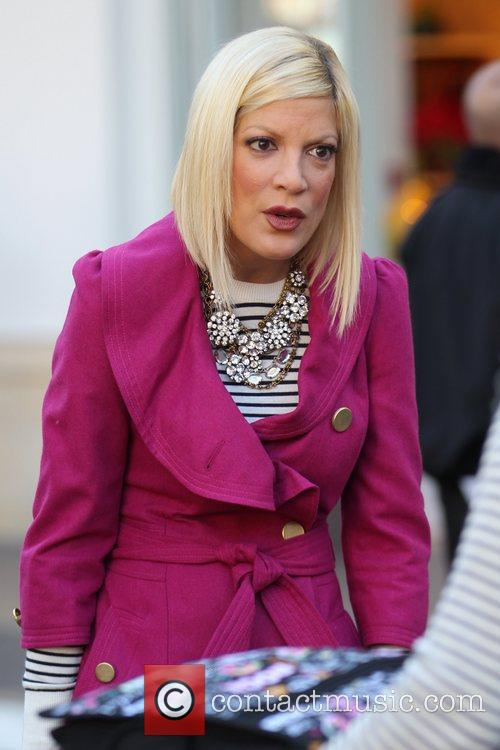 Tori Spelling films for her new television show...