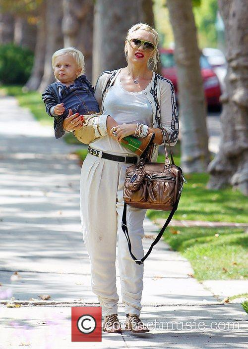 Gwen Stefani and Zuma seen out walking with...