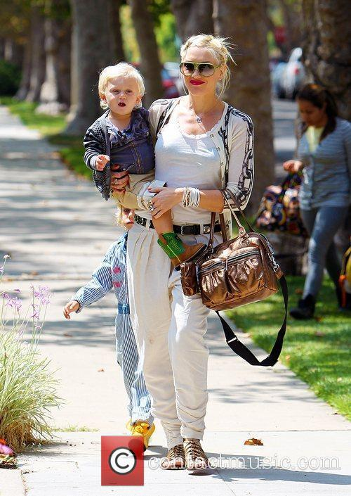 Gwen Stefani seen out walking with her children,...