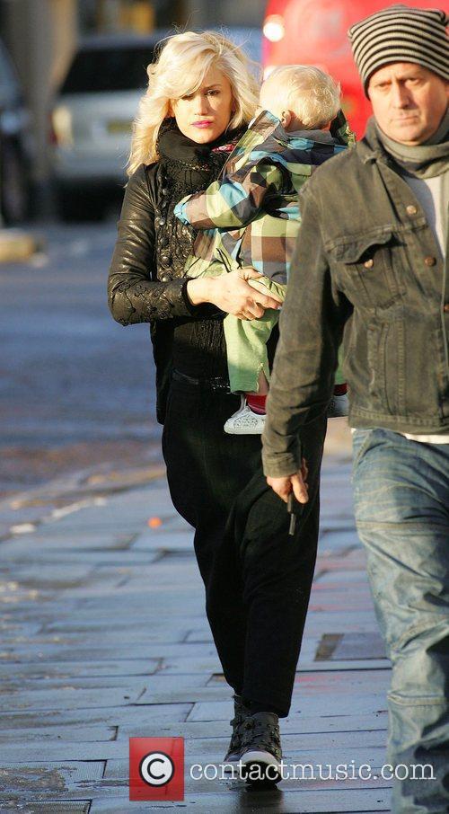 Gwen Stefani leaving her London home bundled up,...