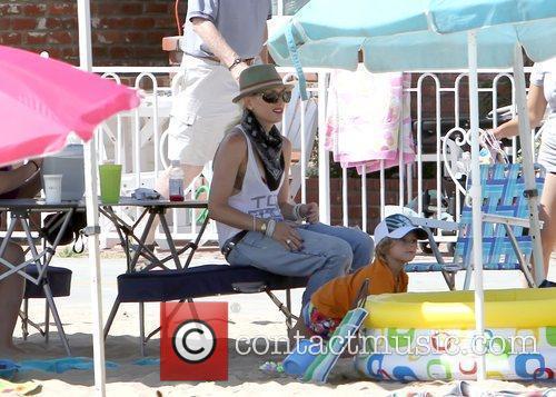 Gwen Stefani enjoys a family day in Newport...