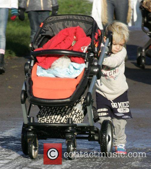 Kingston Rossdale out for a walk in the...
