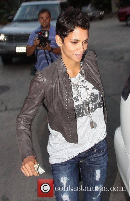 Halle Berry looking tipsy after leaving the Italian...