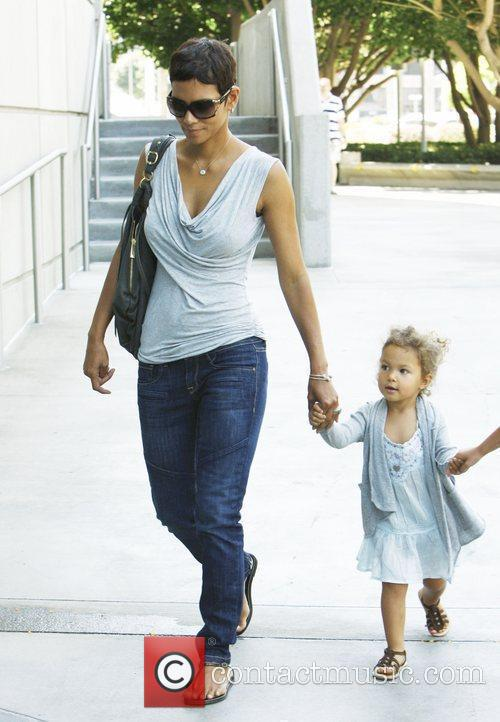 Halle Berry and her daughter Nahla arrive at...