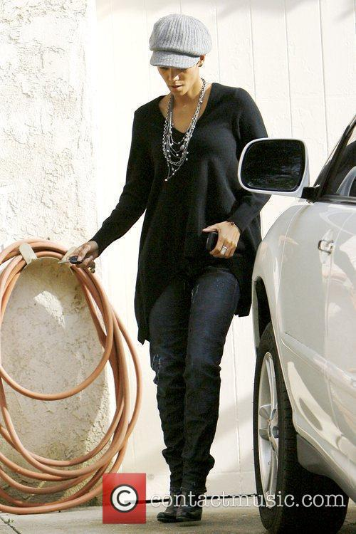 Halle Berry leaving a friend's house while wearing...