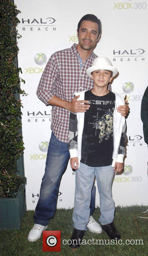 Gilles Marini and son George launch of XBox...