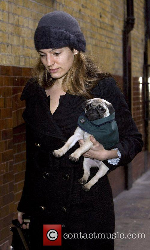 Kelly Brook carries her new Pug puppy Rocky...