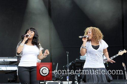 Erica Atkins-Campbell (L) and Tina Atkins-Campbell of Mary...