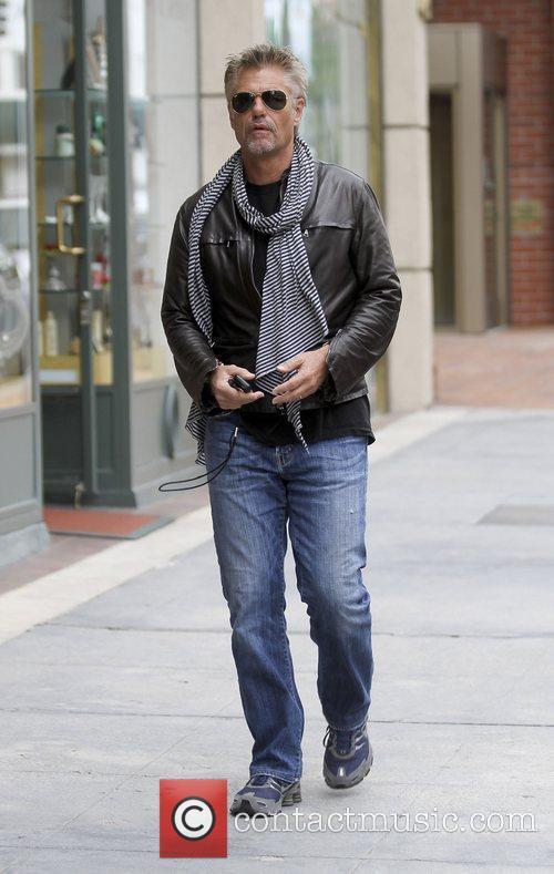 Harry Hamlin leaving a bank in Beverly Hills...