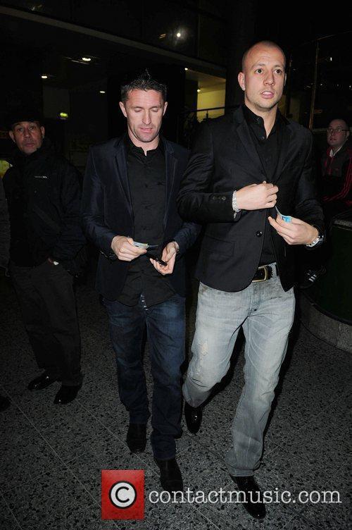 Robbie Keane (R) celebrities arrive at the MEN...