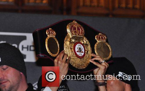 David Haye's WBA belt David Haye and John...