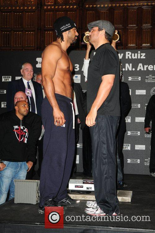 David Haye and John Ruiz at the weigh...