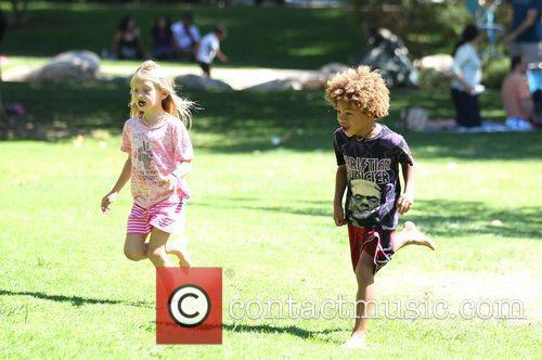 Heidi Klum's children Leni and Johan enjoy the...