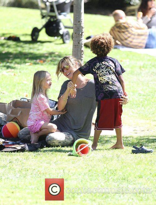 Heidi Klum and her children Leni and Johan...