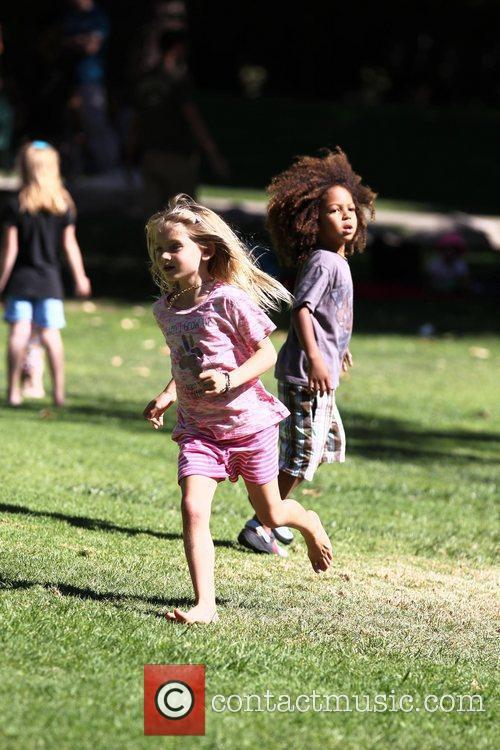 Heidi Klum's children Henry (R) and Leni (L)...