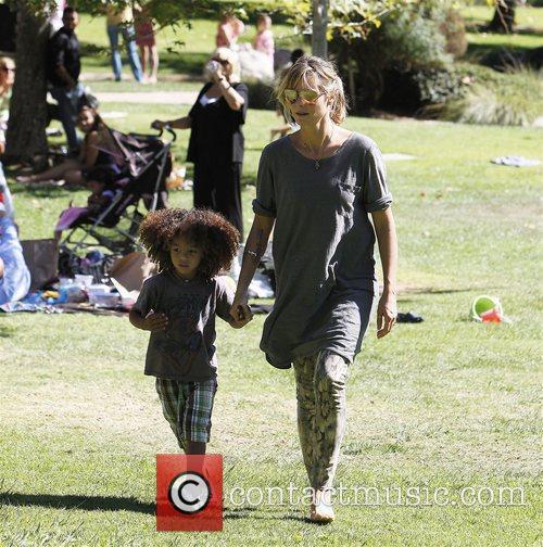 Heidi Klum and her son Henry enjoy the...