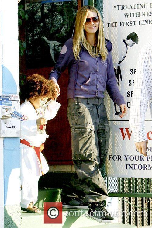 Heidi Klum picking up her son from karate...